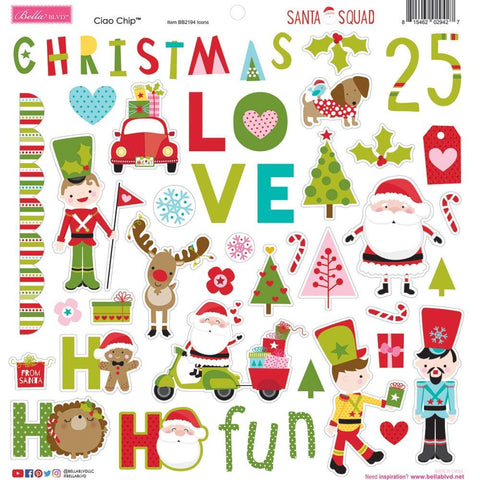 Bella Blvd Chipboard Stickers 12 inchX12 inch - Icons, Santa Squad