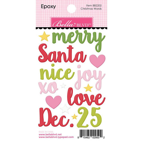 Bella Blvd Santa Squad Epoxy Stickers - Christmas Words