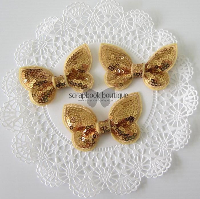 Boutique Crafts - Sequin Butterflies - Gold - 6Cm (3 Pack)