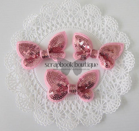 Boutique Crafts - Sequin Butterflies - Pale Pink - 6Cm (3 Pack)