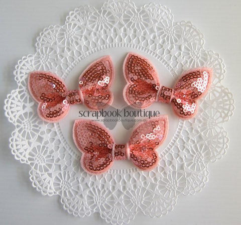 Boutique Crafts - Sequin Butterflies - Peach - 6Cm (3 Pack)