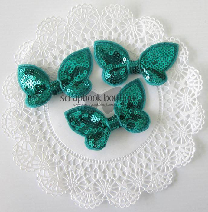 Boutique Crafts - Sequin Butterflies - Turquoise - 6Cm (3 Pack)