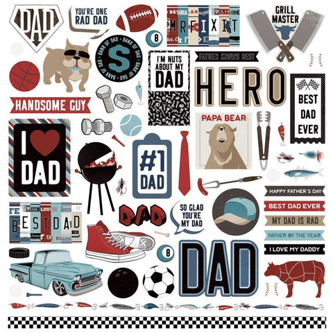 PhotoPlay - Best Dad Ever Stickers 12x12 inch Elements