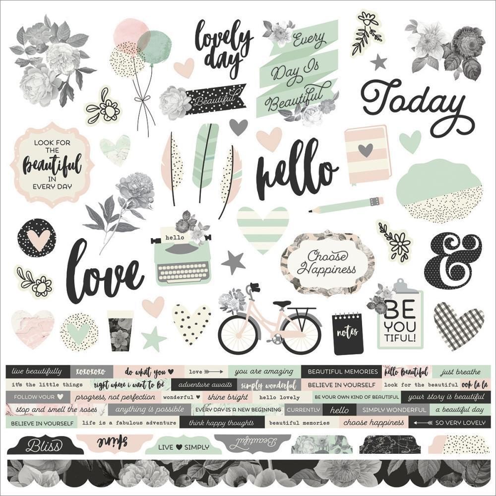 Simple Stories 12x12 Inch Cardstock Stickers Combo - Beautiful
