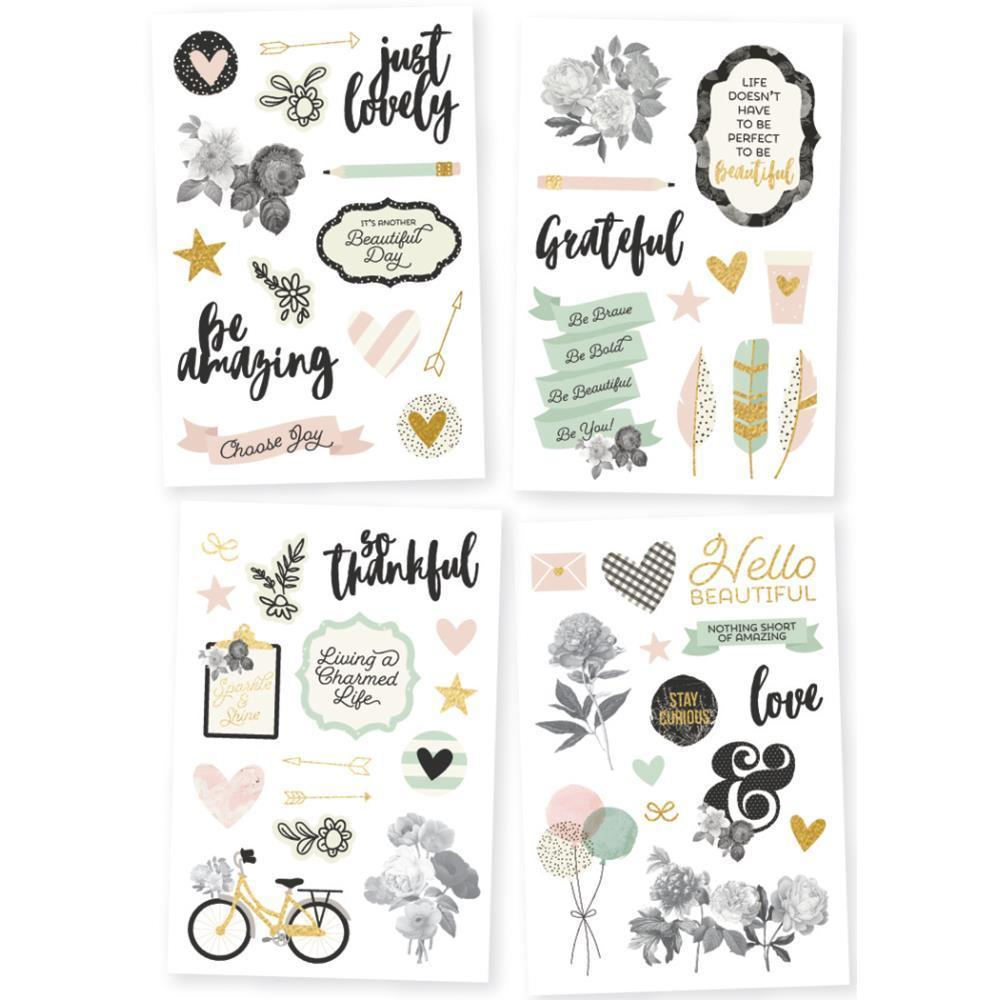 Simple Stories Stickers 4x6 Inch 4 Pack W/ Gold Foil Accents - Beautiful
