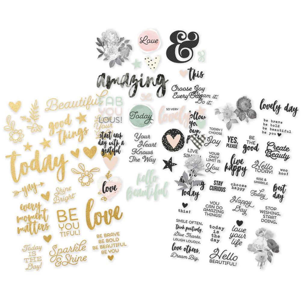 Simple Stories - Clear Stickers 4x6 Inch 3 Pack - Colour, Gold & Black - Beautiful