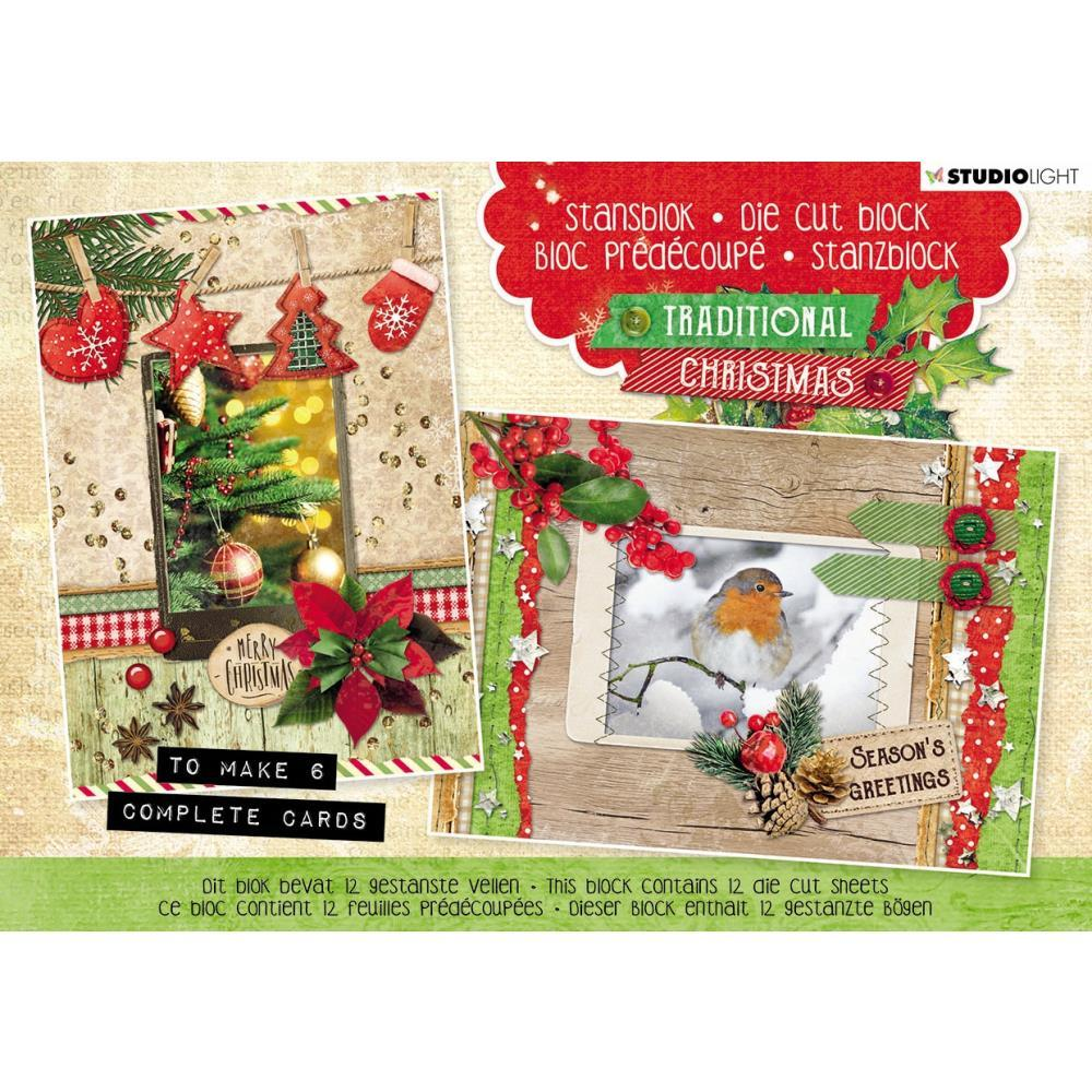 Studio Light - Die-Cut Card Toppers A5 12 pack  Traditional Christmas, Makes 6 Cards