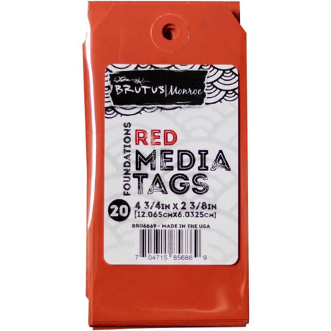 Brutus Monroe Media Tags 4.75 inch X2.38 inch 20 Pk - Red