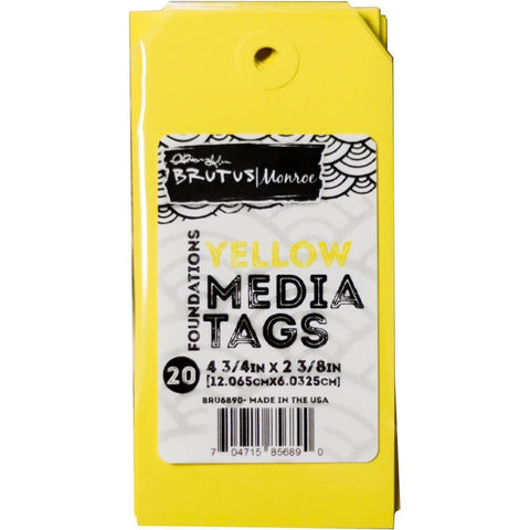 Brutus Monroe Media Tags 4.75x2.38 inch 20 Pk - Yellow