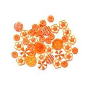 Button Bouquet Assorted Colour Size & Shaped Buttons 36 Pack Orange