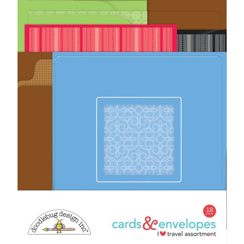 Doodlebug Cards & Envelopes 12 pack - I Heart Travel