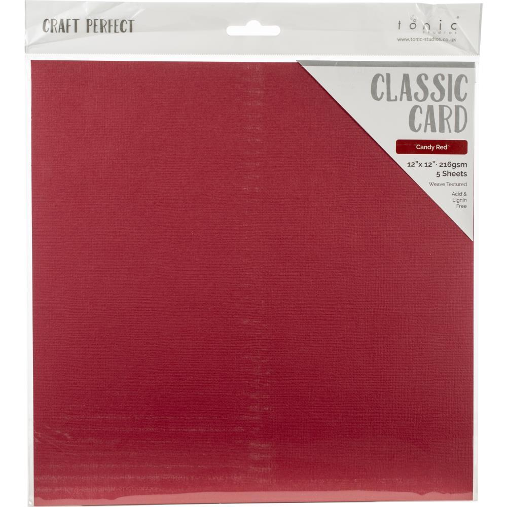 Craft Perfect Weave Texture 80lb Cardstock 12 inches X12 inches  5 pack  - Candy Red