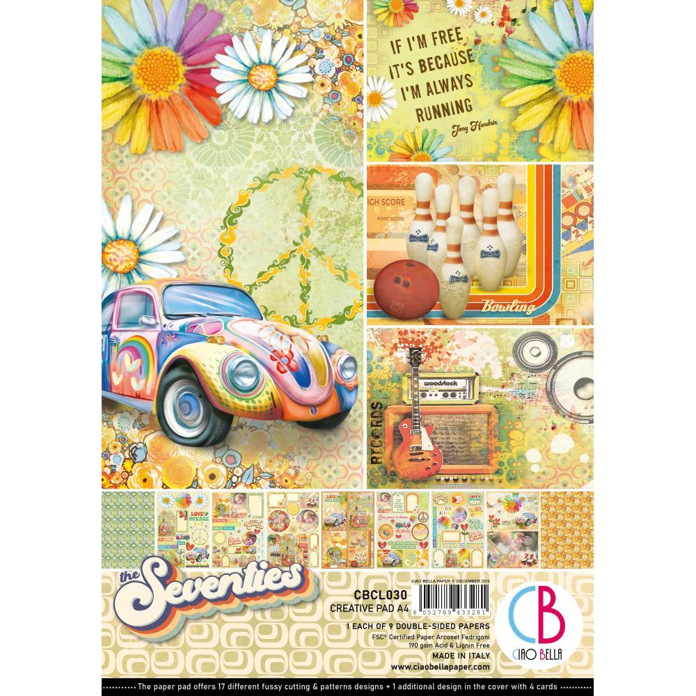 Ciao Bella Double-Sided Creative Pack A4 9 pack - The Seventies, 9 Designs/1 Each