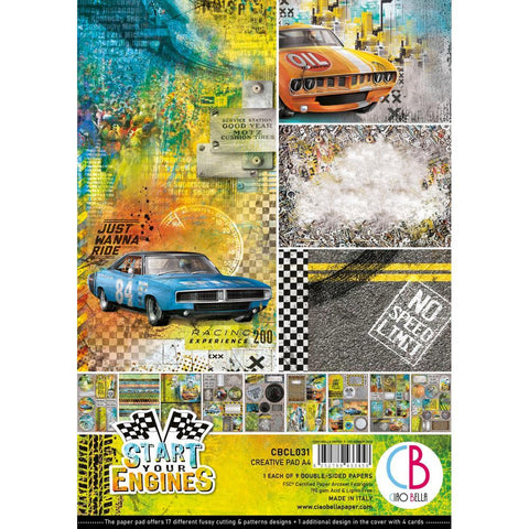 Ciao Bella Double-Sided Creative Pack A4 9 pack - Start Your Engines, 9 Designs/1 Each
