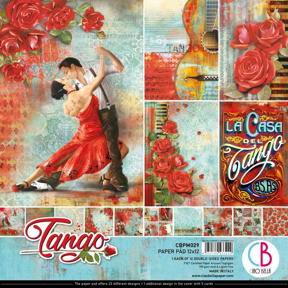 Ciao Bella Double-Sided Paper Pack 90lb 12in x 12in 12 pack - Tango, 12 Designs/1 Each