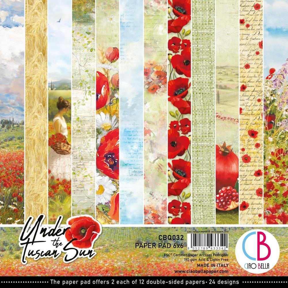Ciao Bella Double-Sided Paper Pack 90lb 6in x 6in 24 pack - Under The Tuscan Sun, 12 Designs/2 Each