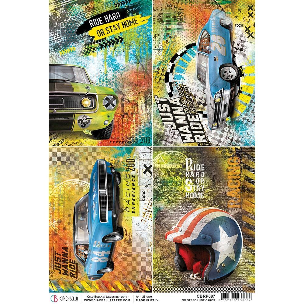 Ciao Bella Rice Paper Sheet A4 - No Speed Limit Cards, Start Your Engines