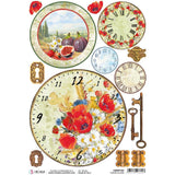 Ciao Bella Rice Paper Sheet A4 - Tuscan Clocks, Under The Tuscan Sun