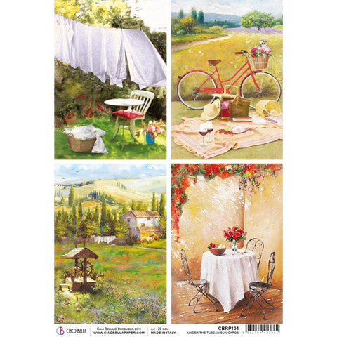 Ciao Bella Rice Paper Sheet A4 - Tuscan Cards, Under The Tuscan Sun