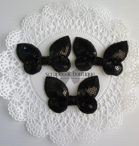 Boutique Crafts - Sequin Butterflies - Black - 6Cm (3 Pack)