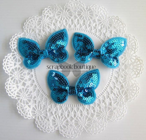 Boutique Crafts - Sequin Butterflies - Blue - 6Cm (3 Pack)