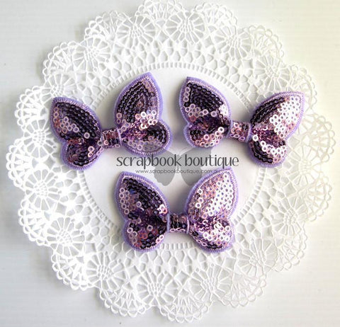 Boutique Crafts - Sequin Butterflies - Lavender - 6Cm (3 Pack)