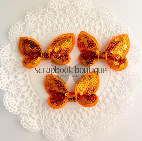 Boutique Crafts - Sequin Butterflies - Orange - 6Cm (3 Pack)