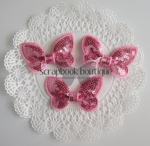 Boutique Crafts - Sequin Butterflies - Pink - 6Cm (3 Pack)