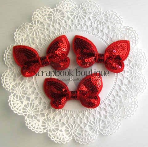 Boutique Crafts - Sequin Butterflies - Red - 6Cm (3 Pack)