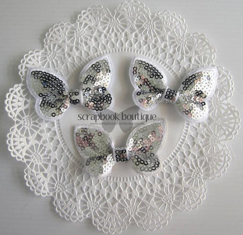 Boutique Crafts - Sequin Butterflies - Silver - 6Cm (3 Pack)
