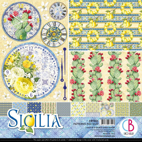 Ciao Bella D/Sided Paper Pack 90lb 12in x 12in 8 pack - Sicilia, 8 Designs/1 Each