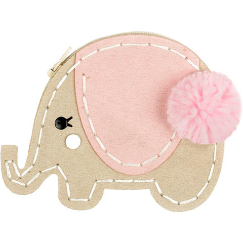 Fabric Editions Needle Creations Felt Coin Purse Kit - All Eyes On You Elephant