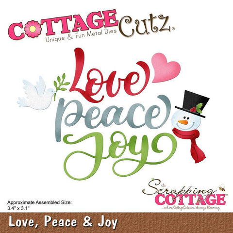 CottageCutz Die - Love, Peace & Joy