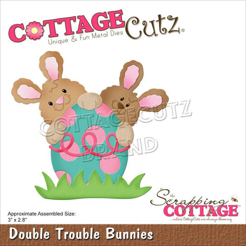 CottageCutz Dies - Double Trouble Bunnies 3in x 2.8in