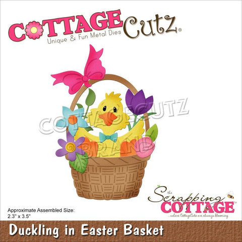 CottageCutz Dies - Duckling In Easter Basket 2.3in x 3.5in