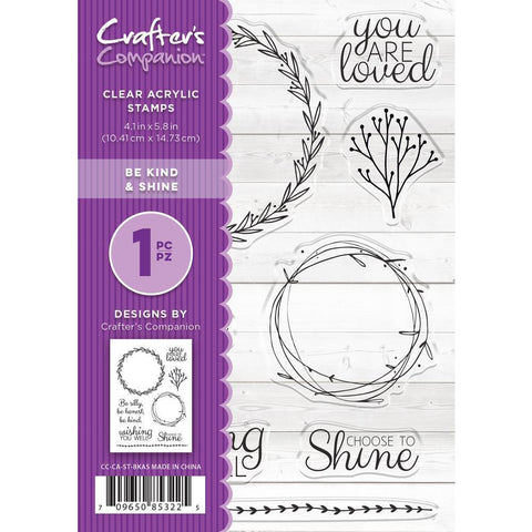 Crafters Companion Clear Stamps 4.1x5.8 inch - Be Kind & Shine