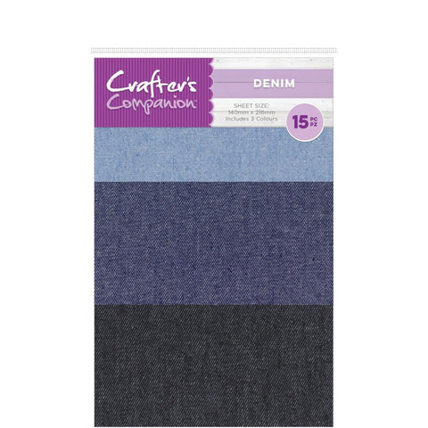 Crafters Companion Craft Material Pack 15 pack - Denim Sheets-Adhesive Back