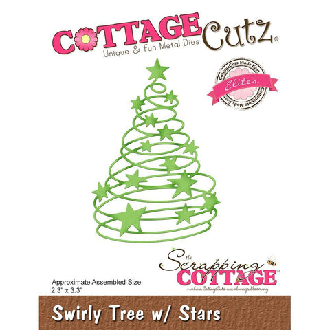 CottageCutz Elites Die - Swirly Tree with Stars