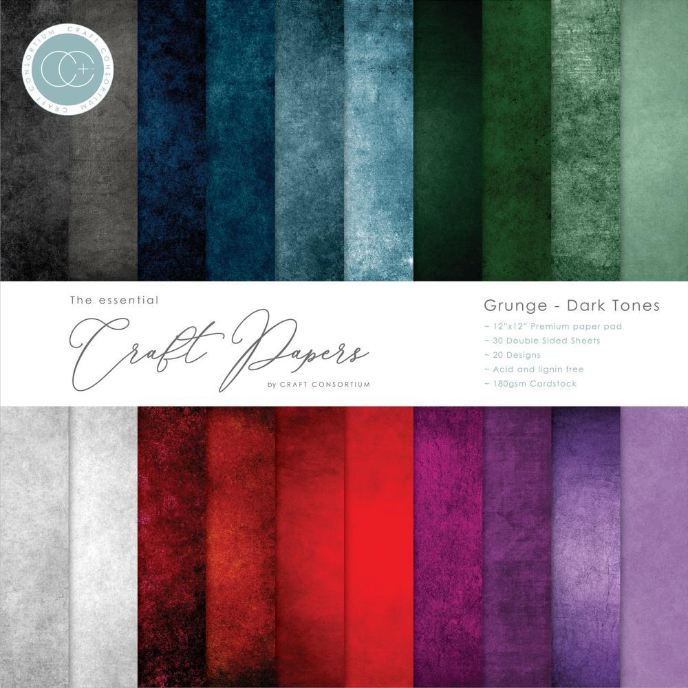 Craft Consortium - Double-Sided Paper Pad 12 inch X12 inch  30 pack  Grunge-Dark Tones, 20 Designs
