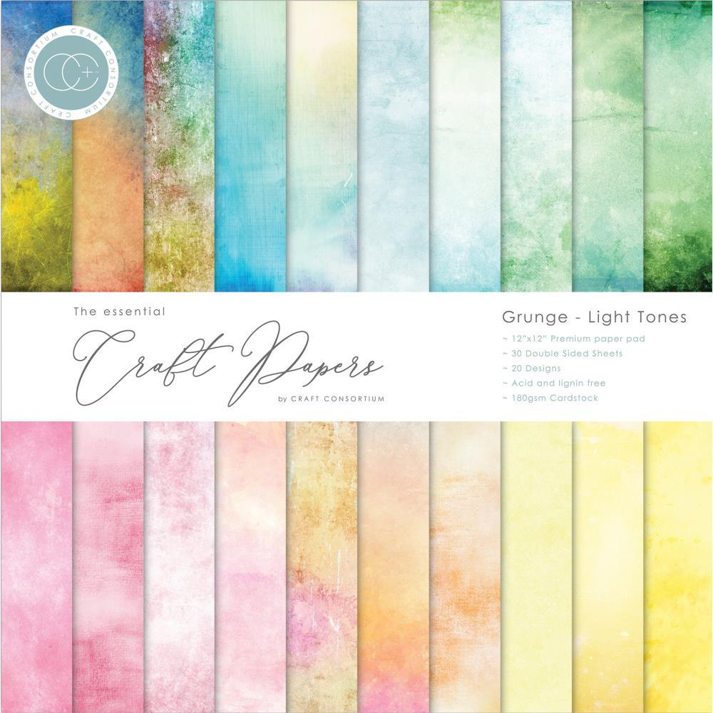 Craft Consortium - Double-Sided Paper Pad 12 inch X12 inch  30 pack  Grunge-Light Tones, 20 Designs