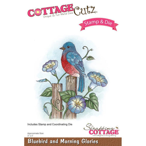 CottageCutz Stamp & Die Set - Bluebird & Morning Glories