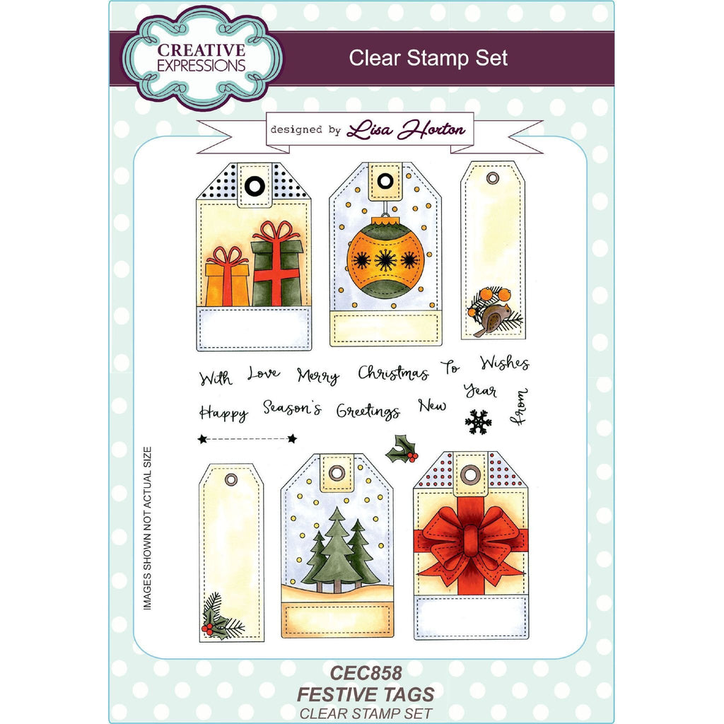 Creative Expressions - Lisa Horton Stamps - Festive Tags A5 Clear Stamp Set