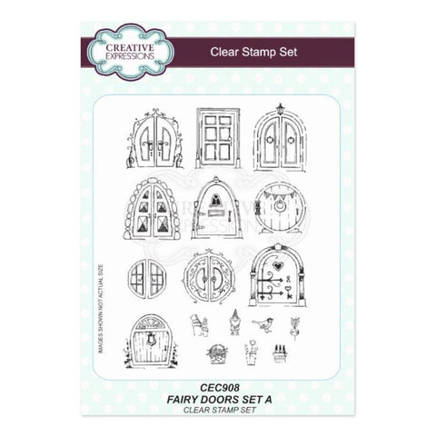Creative Expressions A5 Clear Stamp Set - Fairy Doors set A