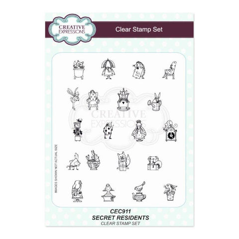 Creative Expressions A5 Clear Stamp Set - Secret Residents