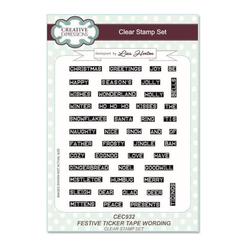 Creative Expressions A5 Clear Stamp Set - Festive Ticker Tape Wording