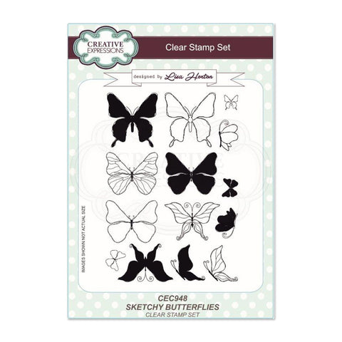 Creative Expressions - Sketchy Butterflies A5 Clear Stamp Set