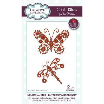 Creative Expressions - Sue Wilson Dies - Industrial Chic - Butterfly & Dragonfly