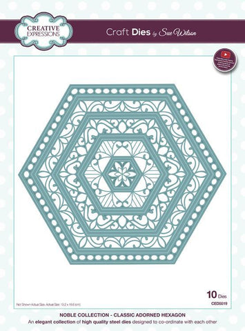 Creative Expressions - Sue Wilson Dies - Noble Collection - Classic Adorned Hexagon