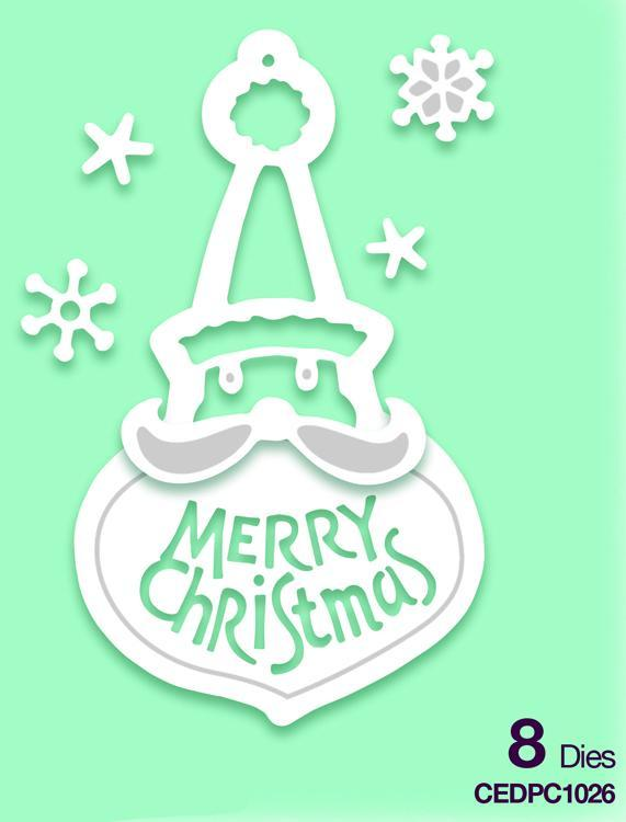 Creative Expressions Lisa Horton Dies - Paper Cuts Collection Merry Christmas Santa Bauble