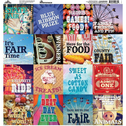Reminisce Collection - County Fair Square Stickers 12x12 inch